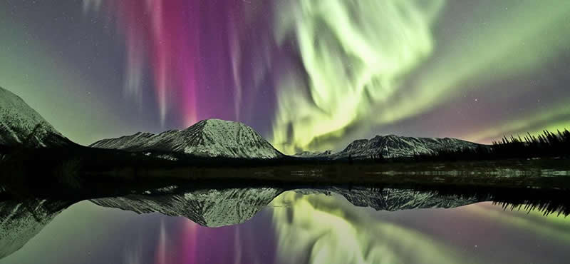 Northern Lights Over Lake